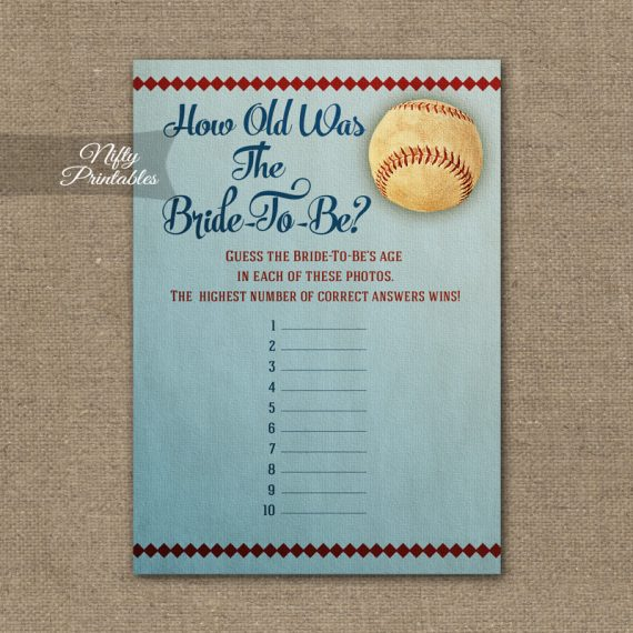 How Old Is The Bride Shower Game - Baseball