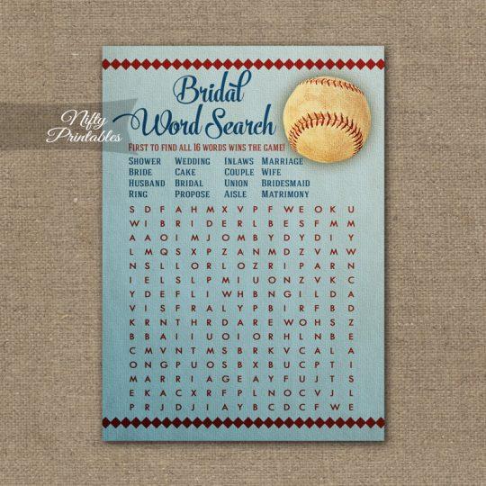 Bridal Shower Word Search Game - Baseball