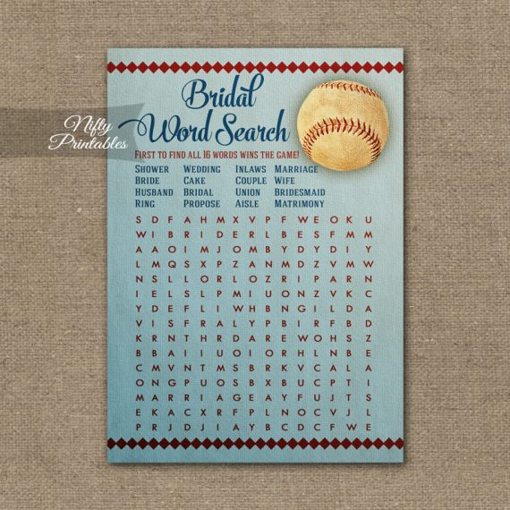 Bridal Shower Word Search Game - Baseball