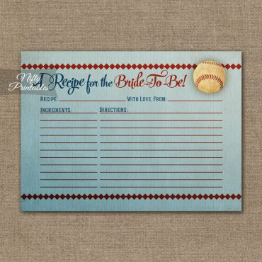 Bridal Shower Recipe Cards - Baseball