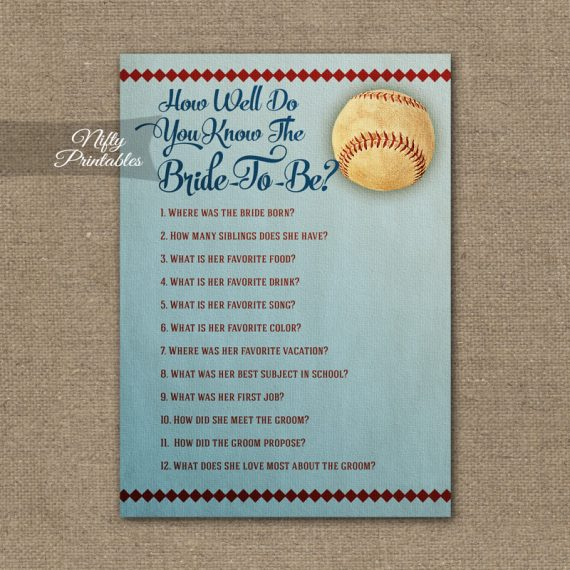 How Well Do You Know The Bride - Baseball