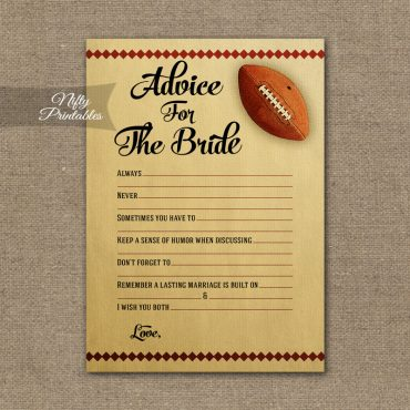 Bridal Shower Advice Cards - Football