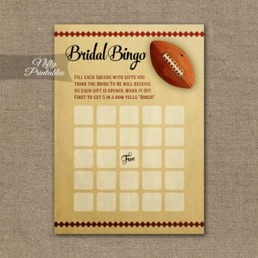 Bridal Shower Bingo Game - Football