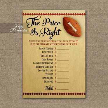 Price Is Right Bridal Shower Game - Football