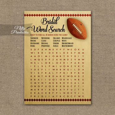 Bridal Shower Word Search Game - Football