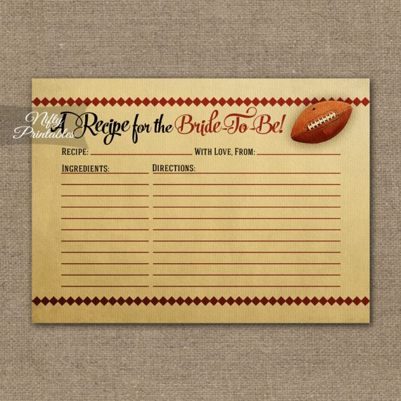 Bridal Shower Recipe Cards - Football