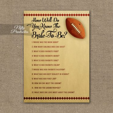 How Well Do You Know The Bride - Football