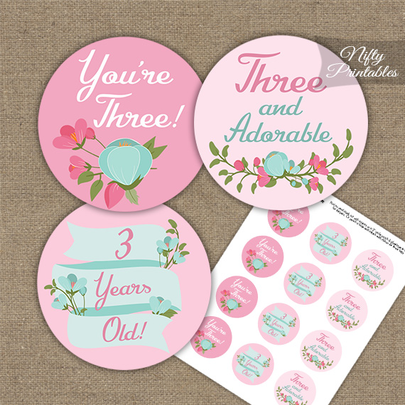 3rd Birthday Cupcake Toppers - Pink Mint Floral