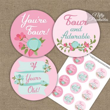 4th Birthday Cupcake Toppers - Pink Mint Floral