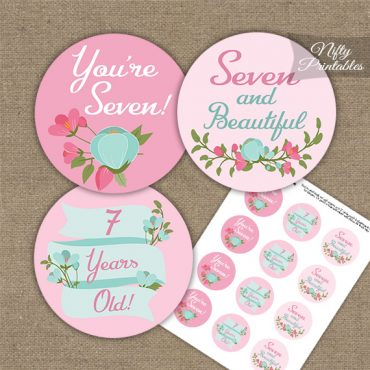 7th Birthday Cupcake Toppers - Pink Mint Floral