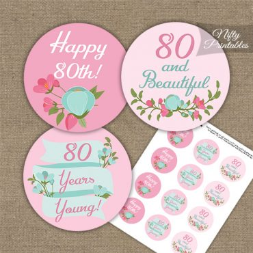 80th Birthday Cupcake Toppers - Pink Mint Floral