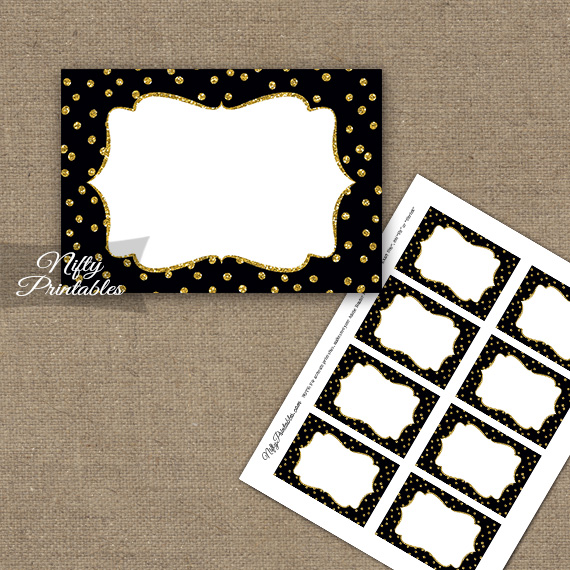 Labels - Black Gold Dots