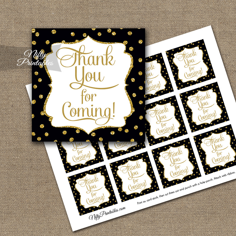 Thank You Favor Tags - Black Gold Dots