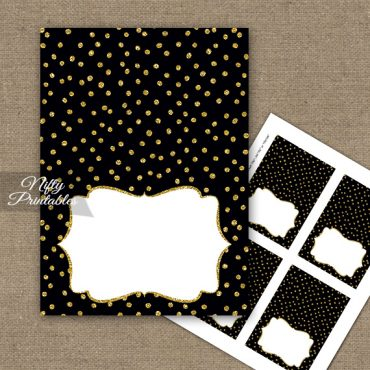 Buffet Tent Cards - Place Cards - Black Gold Dots
