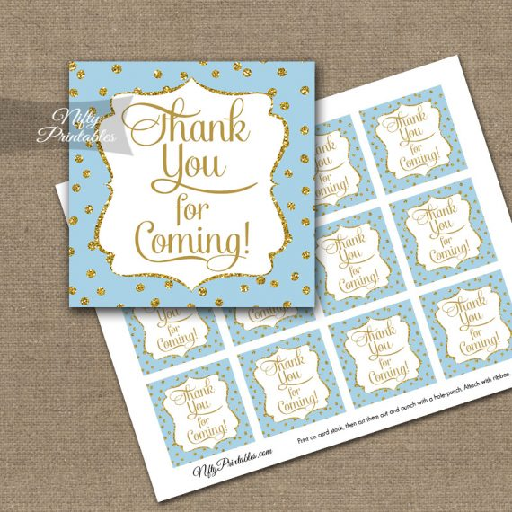 Thank You Favor Tags - Blue Gold Dots
