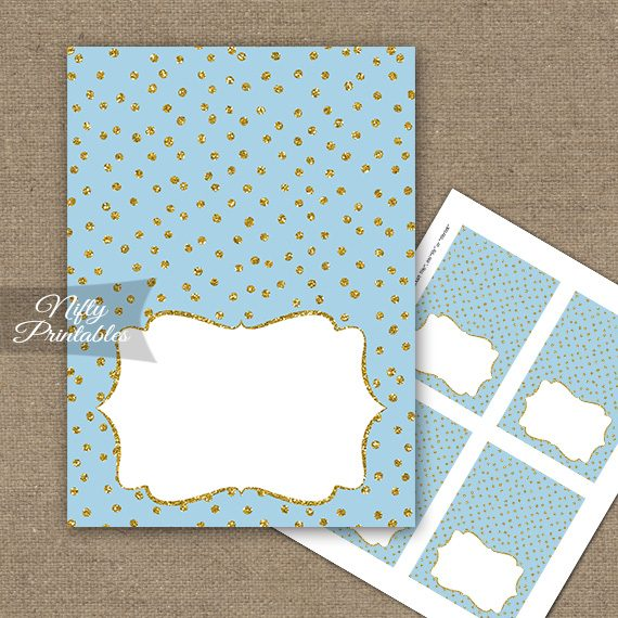 Buffet Tent Cards - Place Cards - Blue Gold Dots