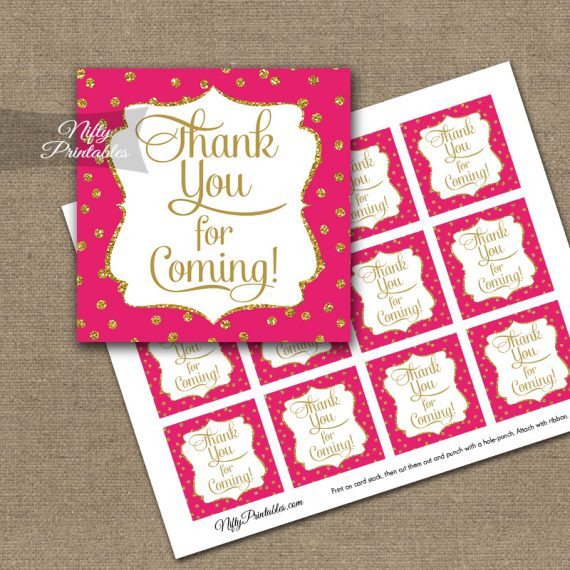Thank You Favor Tags - Hot Pink Gold Dots