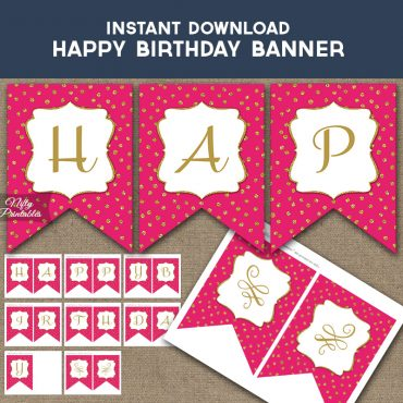 Happy Birthday Banner - Hot Pink Gold Dots