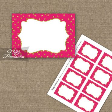 Labels - Hot Pink Gold Dots