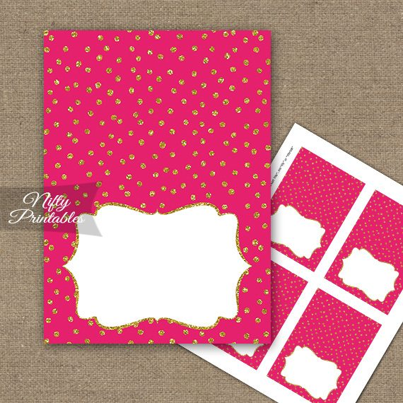 Buffet Tent Cards - Place Cards - Hot Pink Gold Dots