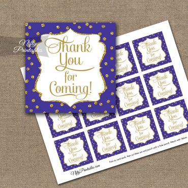 Thank You Favor Tags - Purple Gold Dots