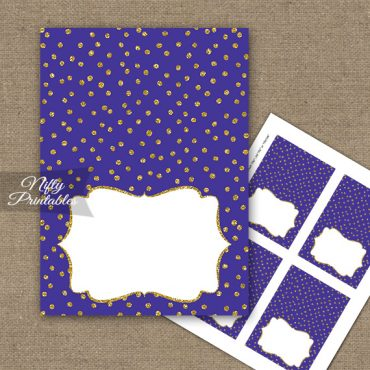 Buffet Tent Cards - Place Cards - Purple Gold Dots