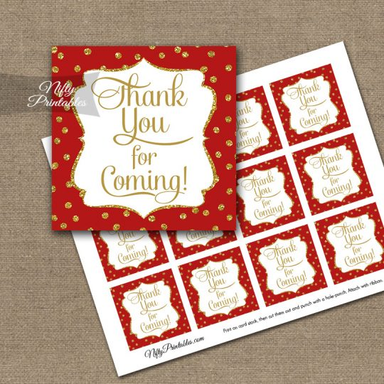 Thank You For Coming Tags - Red Gold