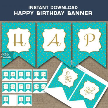Happy Birthday Banner - Turquoise Gold Dots