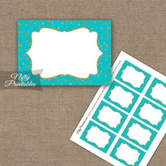 Labels - Turquoise Gold Dots