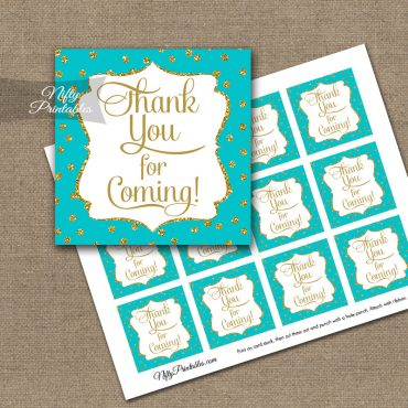 Thank You Favor Tags - Turquoise Gold Dots