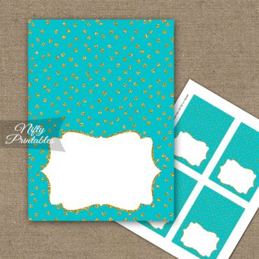 Buffet Tent Cards - Place Cards - Turquoise Gold Dots