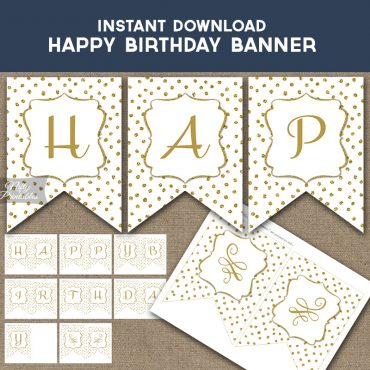 Happy Birthday Banner - White Gold Dots
