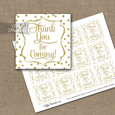 Thank You Favor Tags - White Gold Dots
