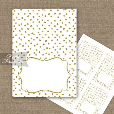 Buffet Tent Cards - Place Cards - White Gold Dots