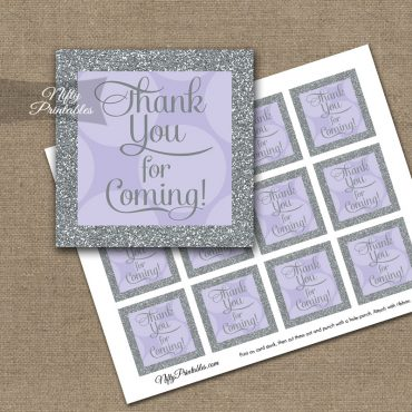 Thank You Favor Tags - Lilac Dots Silver