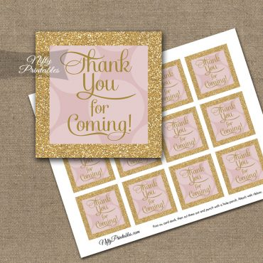 Thank You For Coming Tags - Pink Gold Dots