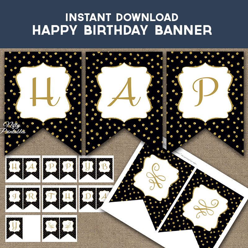 Happy Birthday Banner - Black Gold Dots