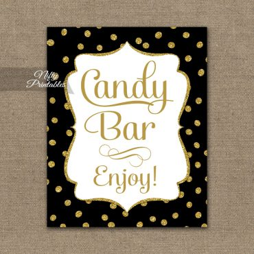 Candy Buffet Sign - Black Gold Dots