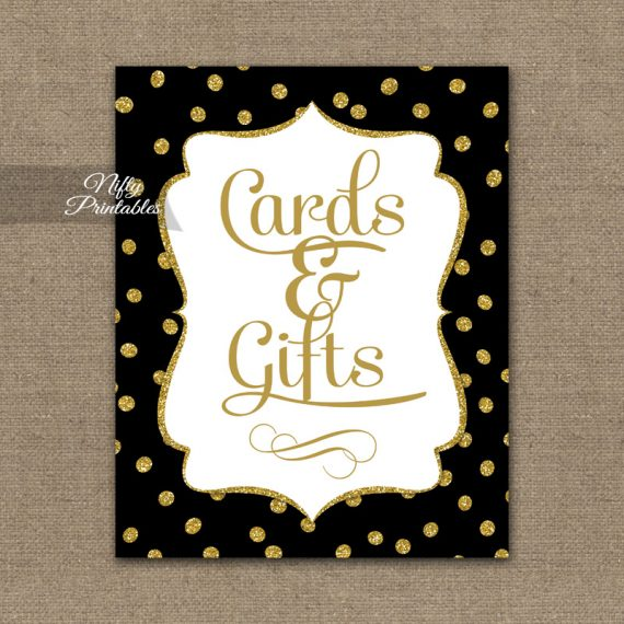 Cards & Gifts Sign - Black Gold Dots