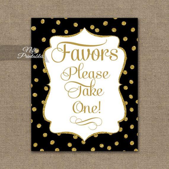 Favors Sign - Black Gold Dots