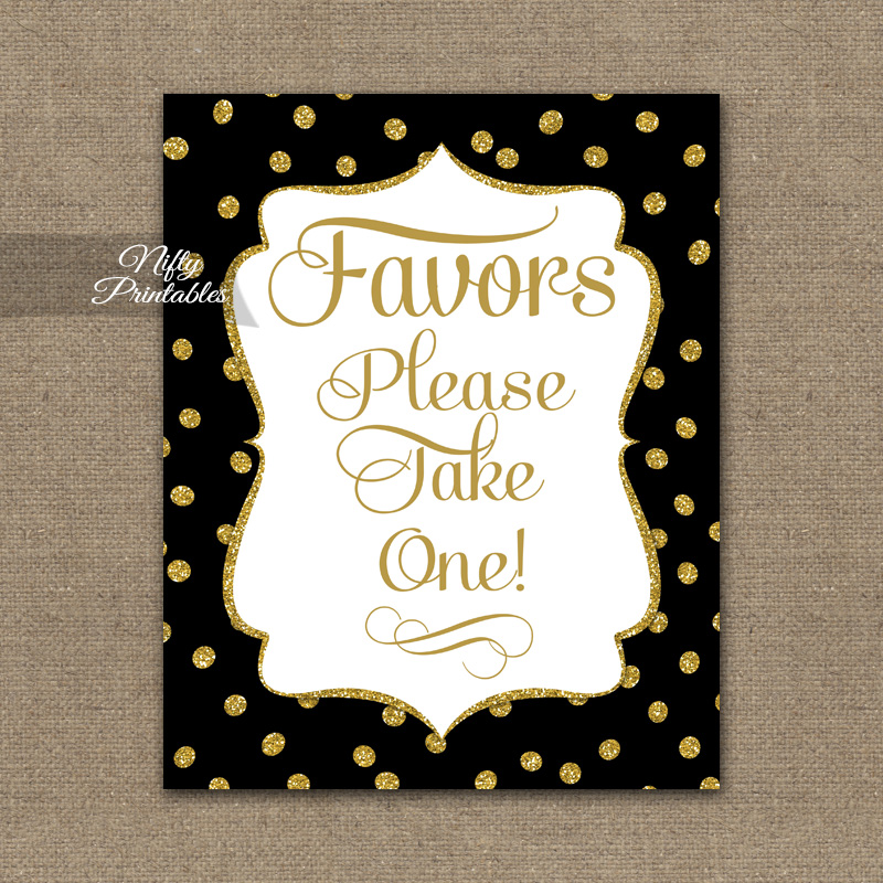 Favors Sign - Black Gold Dots