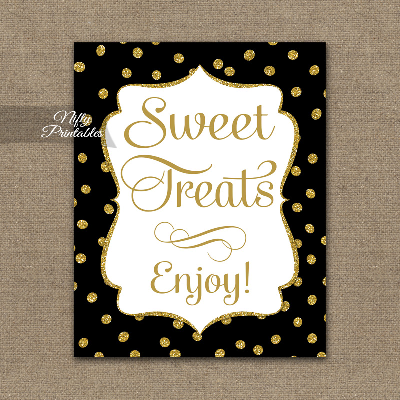 Sweet Treats Dessert Sign - Black Gold Dots
