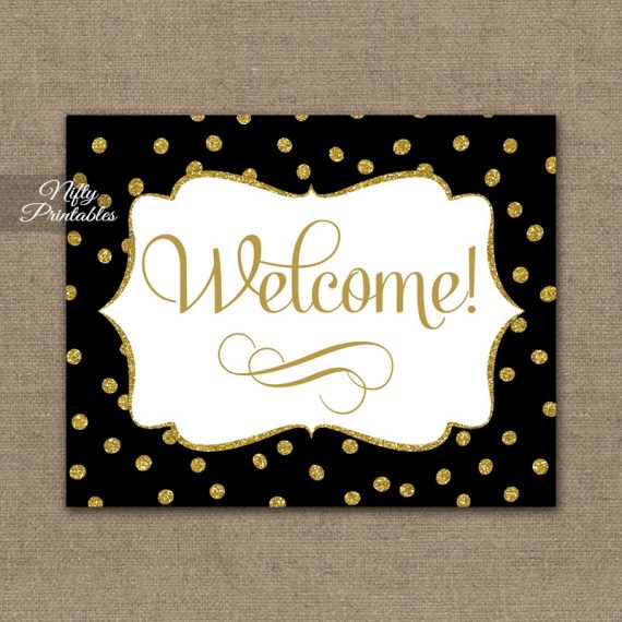 Welcome Sign - Black Gold Dots