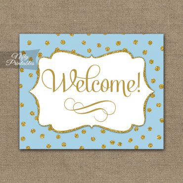 Welcome Sign - Blue Gold Dots