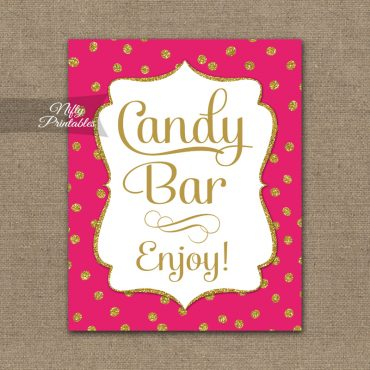 Candy Buffet Sign - Hot Pink Gold Dots