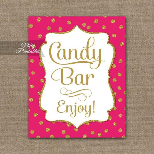 Candy Buffet Sign - Hot Pink Gold Dots