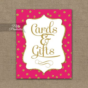 Cards & Gifts Sign - Hot Pink Gold Dots