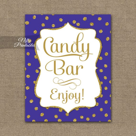 Candy Buffet Sign - Purple Gold Dots