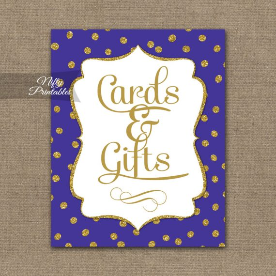 Cards & Gifts Sign - Purple Gold Dots