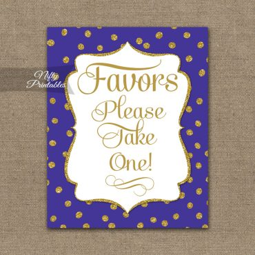 Favors Sign - Purple Gold Dots